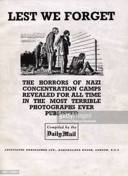 Frontispiece of the rare volume 'Lest we forget' a book which collects photographic evidence of the conditions in which the BergenBelsen camp was...
