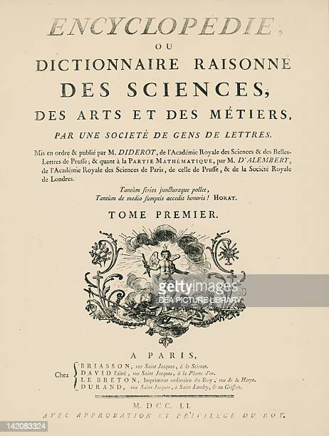 Frontispiece of the Volume I of L'Encyclopedie by Denis Diderot Jean Baptiste Le Rond d'Alembert 17511757 Engraving
