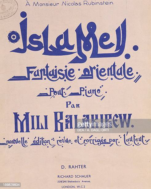 Frontispiece of the work Islamey op 18 composition for piano by Mily Balakirev Bologna Civico Museo Bibliografico Musicale