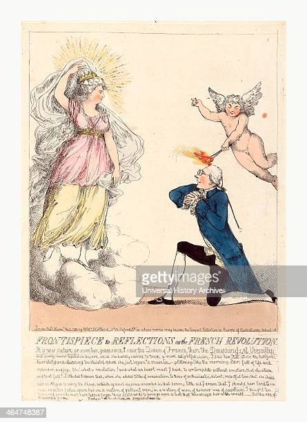 Frontispiece To Reflections On The French Revolution Engraving 1790 Edmund Burke On Bended Knee As Though Proposing To A Vision Which Appears Before...