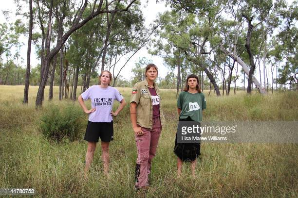 Frontline activists Tess Malcolm Hayley Sestokas and Rilka LaycockWalsh prepare to join with the Stop Adani convoy on April 24 2019 in Bowen...