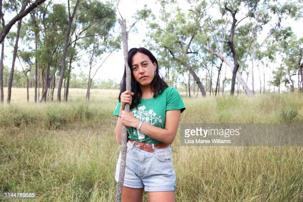 Frontline environment activist Carla Unger prepares to join the Stop Adani convoy on April 24 2019 in Bowen Australia Former Greens leader and...