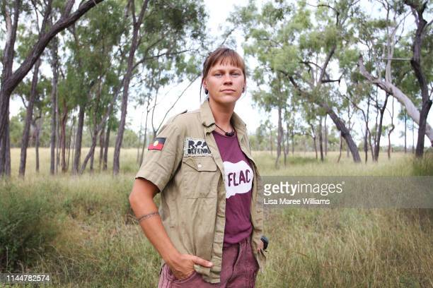 Frontline environment activist Hayley Sestokas prepares to join the Stop Adani convoy on April 24 2019 in Bowen Australia Former Greens leader and...