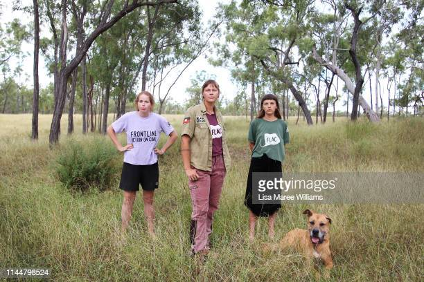 Frontline environment activists Tess Malcolm Hayley Sestokas and Rilka LaycockWalsh prepare to join the Stop Adani convoy on April 24 2019 in Bowen...