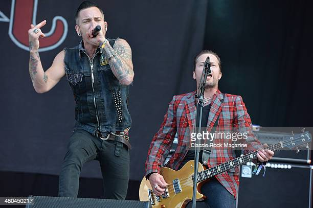 Frontman A Jay Popoff and bassist Kevin Baldes of American pop punk group Lit performing live on the Zippo Encore Stage at Download Festival on June...