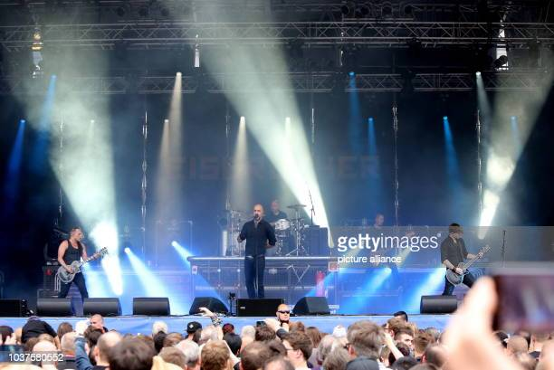 Frontman Alexander 'Alexx' Wesselsky performs with his rock band 'Eisbrecher' the Schlossgrabenfest music festival inDarmstadt Germany 23 May 2015...