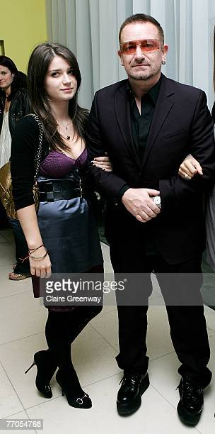 U2 frontman Bono and his guest arrive at the afterparty following Across The Universe at Bungalow 8 St Martin's Lane Hotel on September 26 2007 in...