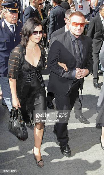 U2 frontman Bono and his wife Ali Hewson attend Luciano Pavarotti's funeral held in Modena's Duomo on September 8 2007 in Modena Italy Pavarotti died...