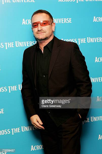 U2 frontman Bono arrives at the gala premiere of 'Across The Universe' at the Apollo West End on September 26 2007 in London England