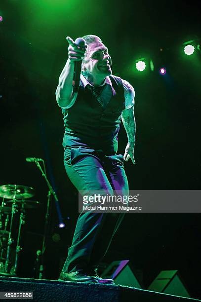 Frontman Brent Smith of American hard rock group Shinedown performing live on stage at Wembley Arena on October 18 2013