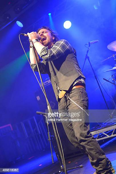 Frontman Chris Fry of Northern Irish rock group Screaming Eagles performing live on stage at the 2013 Hard Rock Hell festival in Pwllheli Wales on...