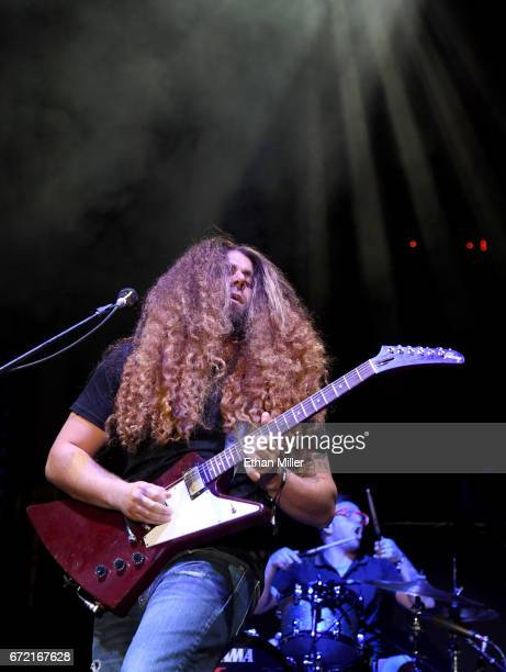 Frontman Claudio Sanchez and drummer Josh Eppard of Coheed and Cambria perform during the Las Rageous music festival at the Downtown Las Vegas Events...