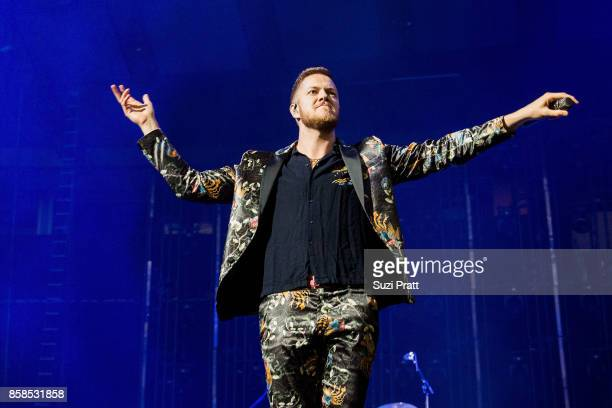 Frontman Dan Reynolds of Imagine Dragons performs at KeyArena on October 6 2017 in Seattle Washington