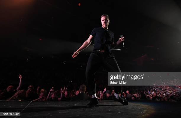 Frontman Dan Reynolds of Imagine Dragons performs during a stop of the band's Evolve World Tour at TMobile Arena on September 29 2017 in Las Vegas...