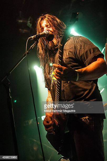 Frontman Danny Tomb of Australian thrash metal group 4ARM performing live on the Rising Sun stage at the Hammerfest heavy metal festival in Wales on...