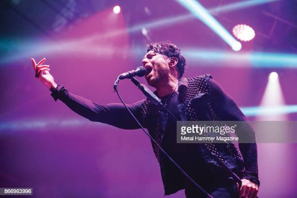 Frontman Davey Havok of American punk rock group AFI performing live on stage at Alexandra Palace in London on May 10 2017