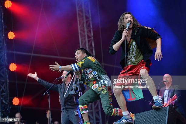 Frontman Eugene Hutz and MC Pedro Erazo of Gypsy punk group Gogol Bordello performing live on the Zippo Encore Stage at Download Festival on June 14...