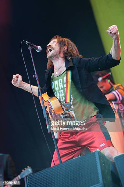 Frontman Eugene Hutz of Gypsy punk group Gogol Bordello performing live on the Zippo Encore Stage at Download Festival on June 14 2013