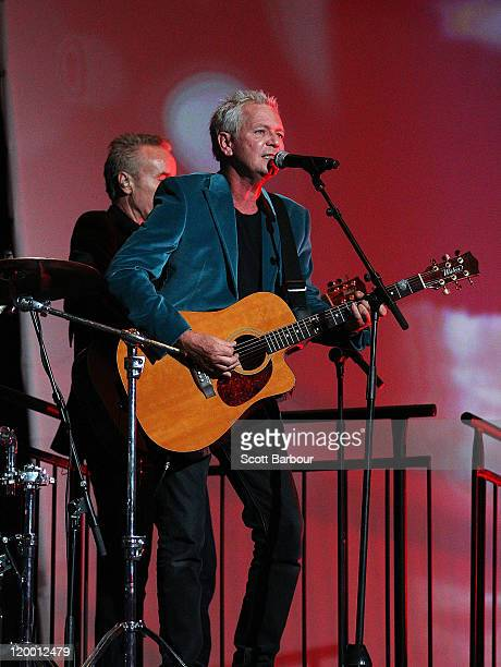 Frontman for the Australian band Icehouse Iva Davies performs at the annual Million Dollar Lunch fundraiser for children with cancer on July 29 2011...