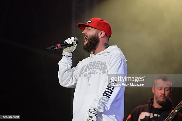 Frontman Fred Durst of American rap metal group Limp Bizkit performing live on the Main Stage at Download Festival on June 16 2013