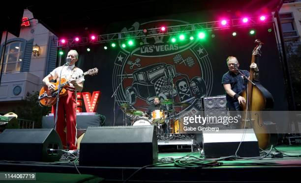 Frontman Jim Heath drummer Arjuna RJ Contreras and bassist Jimbo Wallace of The Reverend Horton Heat perform during the Viva Las Vegas Rockabilly...