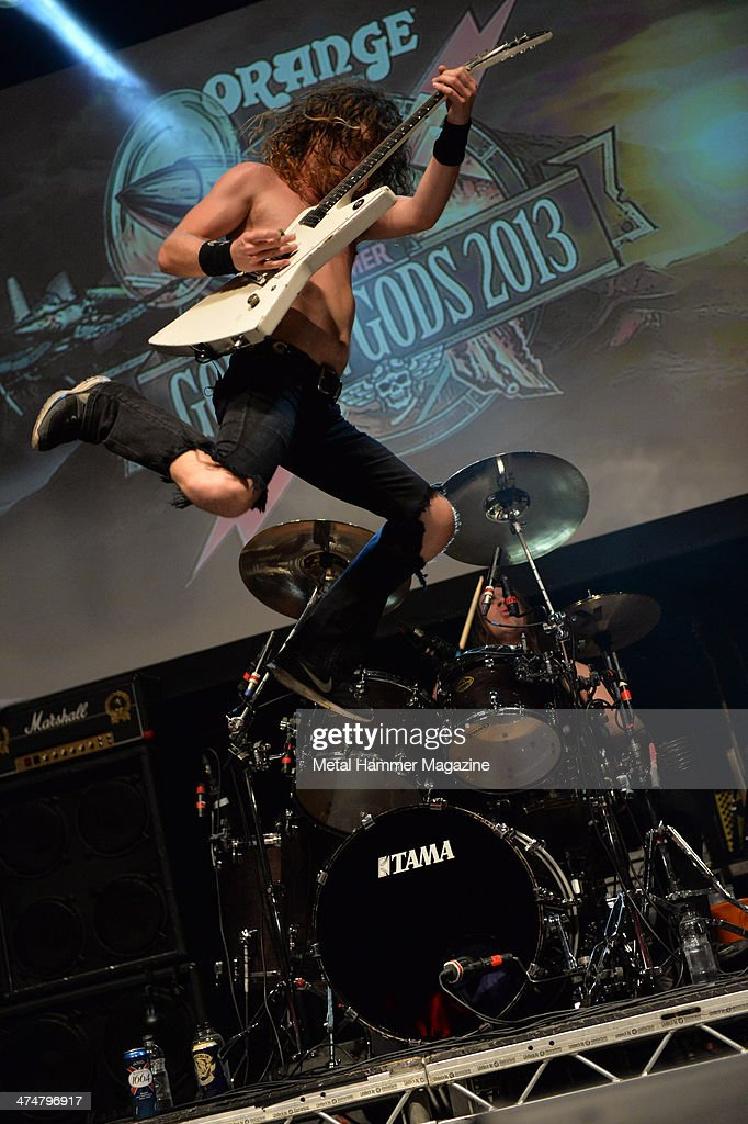 Frontman Joel O'Keeffe of Australian hard rock group Airbourne performing live on stage at the 2013 Golden Gods Awards in the O2 Arena, London, on June 17, 2013.