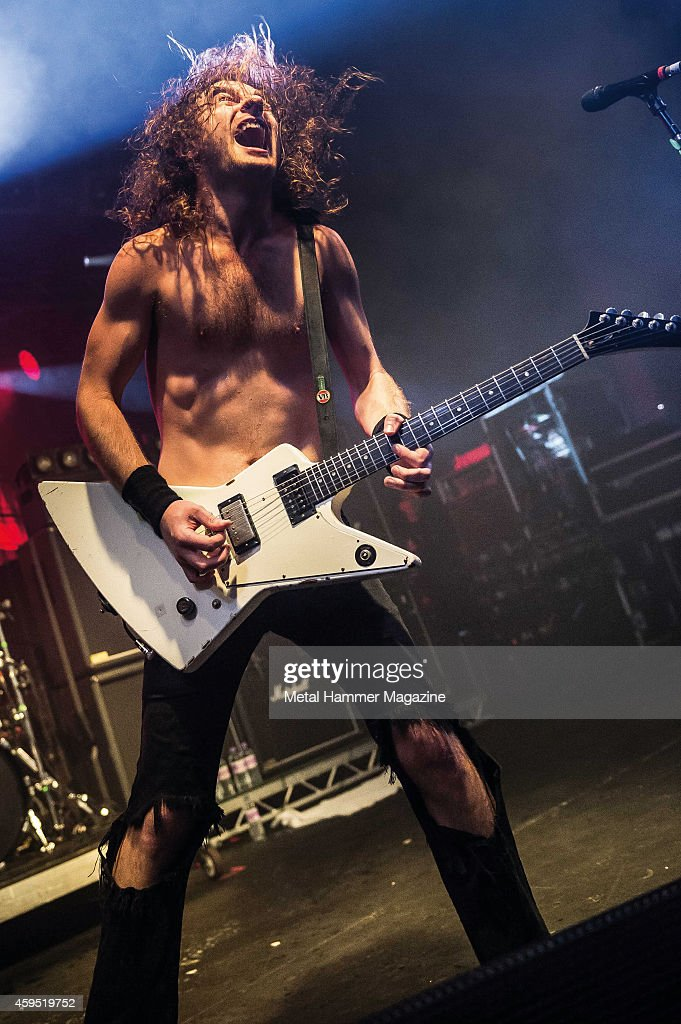 Frontman Joel O'Keeffe of Australian rock group Airbourne performing live on stage at the Hard Rock Hell VII festival in Wales, on November 30, 2013.