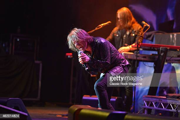 Frontman Joey Tempest of Swedish rock group Europe performing live on stage at the Hammersmith Apollo in London on April 13 2014