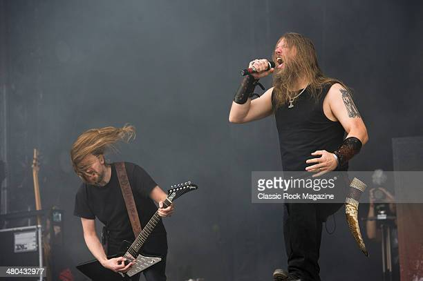 Frontman Johan Hegg and guitarist Johan Soderberg of Swedish death metal group Amon Amarth performing live on the Zippo Encore Stage at Download...