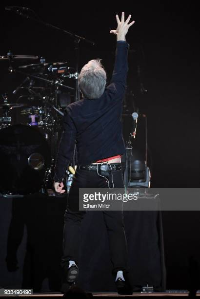 Frontman Jon Bon Jovi of Bon Jovi performs during a stop of the band's This House is Not for Sale Tour at TMobile Arena on March 17 2018 in Las Vegas...