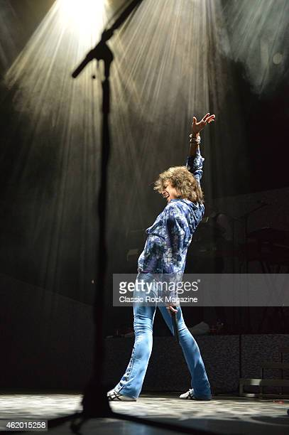 Frontman Kelly Hansen of American rock group Foreigner performing live on stage at the Hammersmith Apollo in London on April 13 2014