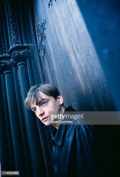 Frontman Mark E Smith of postpunk band The Fall at a photoshoot circa 1988