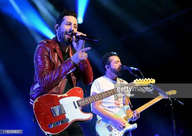 Frontman Matthew Ramsey and guitarist Brad Tursi of Old Dominion perform during a stop of the band's Make It Sweet Tour at The Joint inside the Hard...