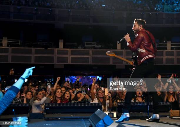 Frontman Matthew Ramsey of Old Dominion performs during a stop of the band's Make It Sweet Tour at The Joint inside the Hard Rock Hotel Casino on...