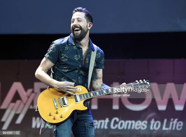 Frontman Matthew Ramsey of Old Dominion performs during NAB show's We are Broadcasters Celebration at the Las Vegas Convention Center on April 10...