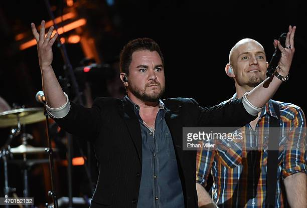 Frontman Mike Eli and bassist Jon Jones of the Eli Young Band perform onstage during ACM Presents Superstar Duets at Globe Life Park in Arlington on...