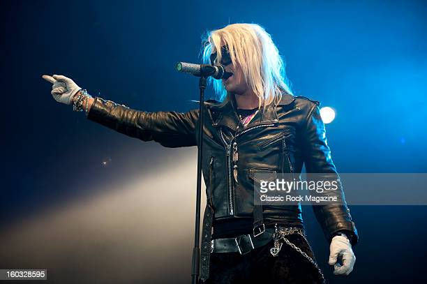Frontman Olli Herman of Finnish glam metal group Reckless Love performing live on the Pepsi Max Stage at Download Festival on June 10 2012