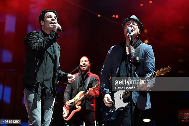 Frontman Patrick Monahan bassist Hector Maldonado and guitarist Jimmy Stafford of Train perform at the Downtown Las Vegas Events Center on November 7...
