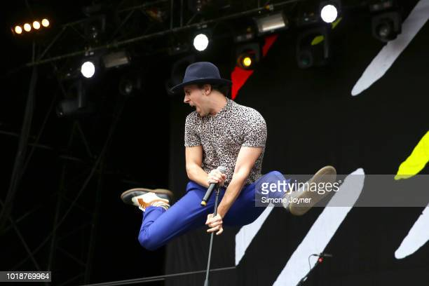 Frontman Paul Smith of Maxïmo Park jumps as he performs live on stage during day two of RiZE Festival at Hylands Park on August 18, 2018 in...