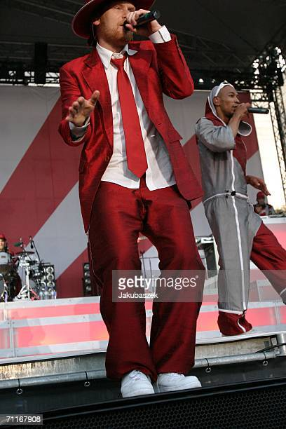 """Frontman Pete Fox aka Pierre Baigorry of the Berlin based Reggae/Dancehall-Act band """"Seeed"""" performs live at the Treptower Park June 09, 2006 in..."""