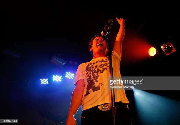 Frontman Phil Jamieson of the band Grinspoon performs on stage at the Corner Hotel on September 16 2009 in Melbourne Australia