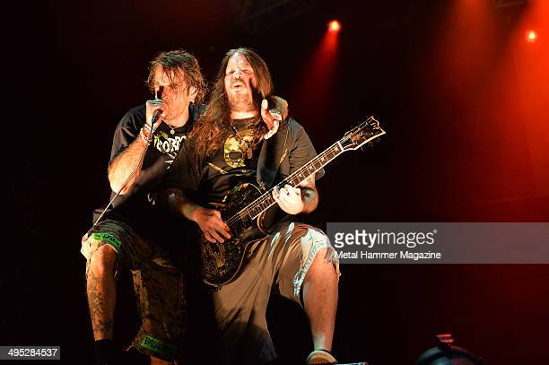 Frontman Randy Blythe and guitarist Willie Adler of American heavy metal group Lamb Of God performing live on stage at Bloodstock Open Air festival...