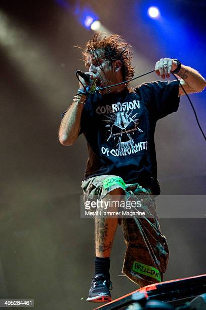 Frontman Randy Blythe of American heavy metal group Lamb Of God performing live on stage at Bloodstock Open Air festival in Derbyshire England on...