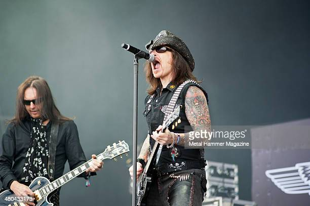 Frontman Ricky Warwick and guitarist Damon Johnson of American rock group Black Star Riders performing live on the Main Stage at Download Festival on...