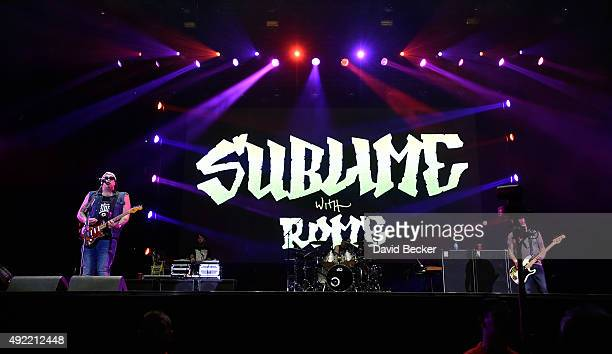 Frontman Rome Ramirez drummer Josh Freese and bassist Eric Wilson of Sublime with Rome perform at the 10th annual Wine Amplified festival at the Las...