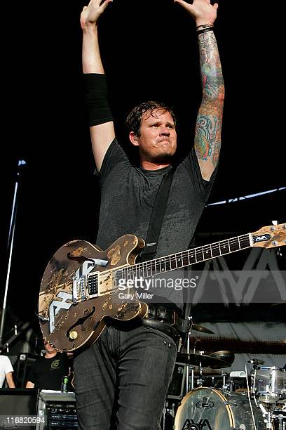 Frontman Tom DeLonge of Angels Airwaves performs during the Van's Warped Tour at the Verizon Wireless Amphitheater on July 5 2008 in San Antonio Texas