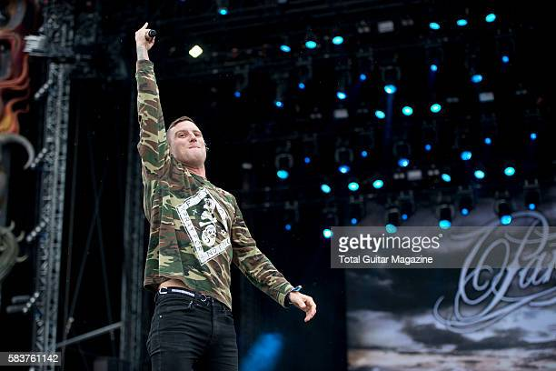 Frontman Winston McCall of Australian metalcore group Parkway Drive performing live on the Main Stage at Download Festival on June 13 2015