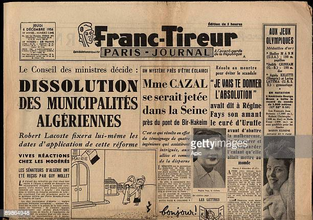 Frontpage of french newspaper Franc Tireur december 6 1956 about affair of Uruffe priest