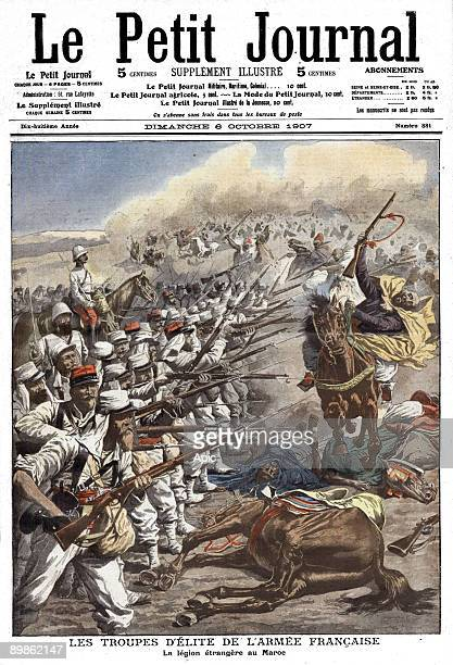 Frontpage of french newspaper Le Petit Journal october 6 1907 the Foreign Legion near Casablanca in Morocco
