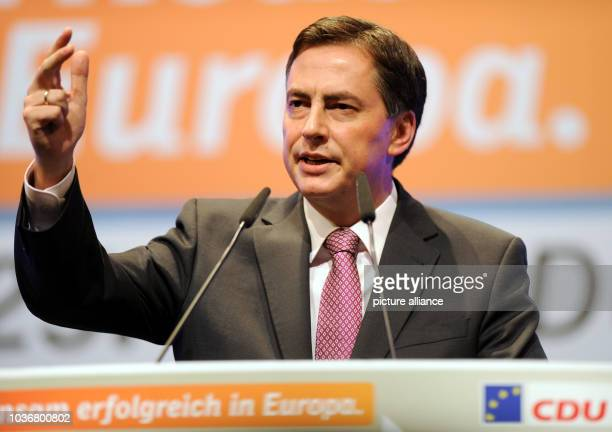 CDU frontrunner of Lower Saxony for the European election 2014 David McAllister speaks during a campaign for the European election on 25 May 2014 in...